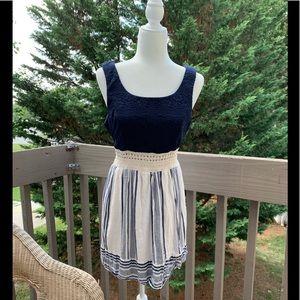 TRIXXI SZ LG Navy & Off white lace/lined dress